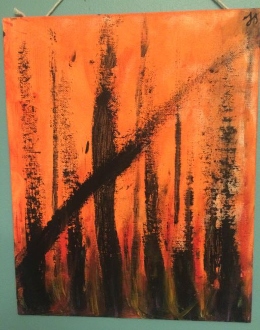 my painting of orange and black forest fire