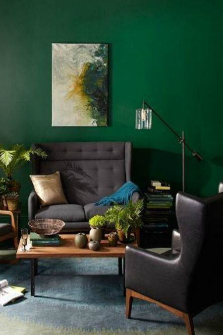 moody green accent wall