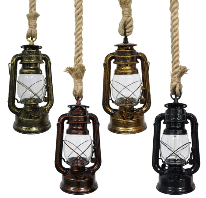 vintage hanging oil lamps - nautical design inspiration.