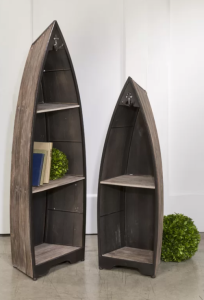 Two piece canoe bookcase