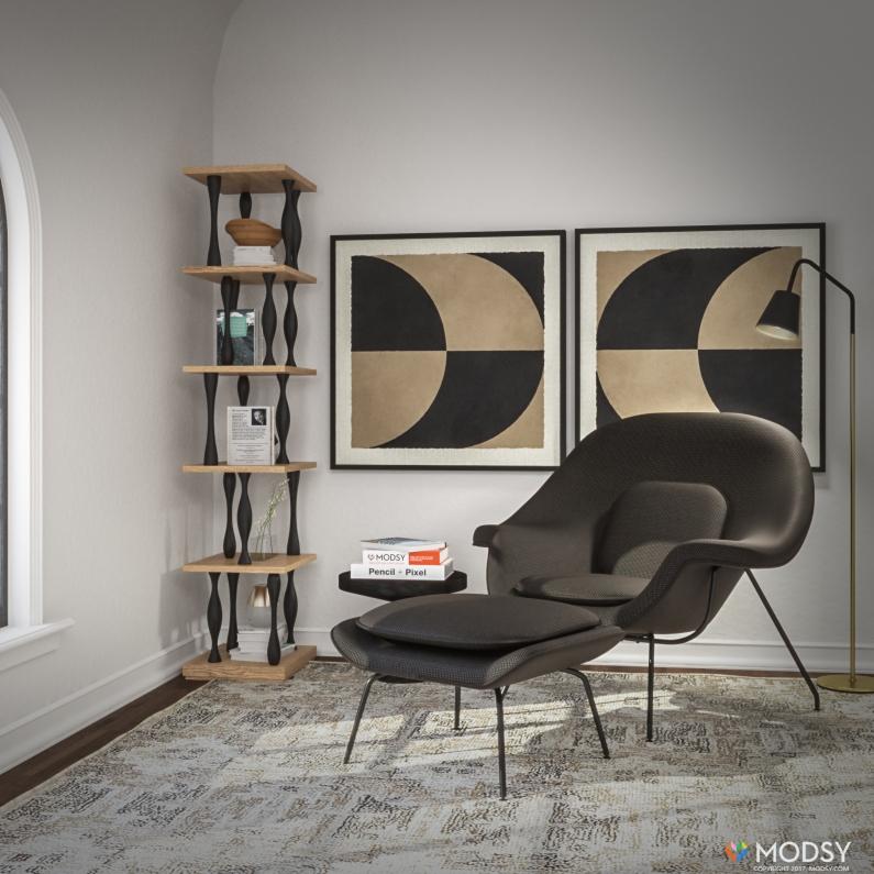 Cool black and grey mid-century modern living room corner