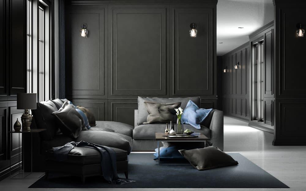 black on black living room