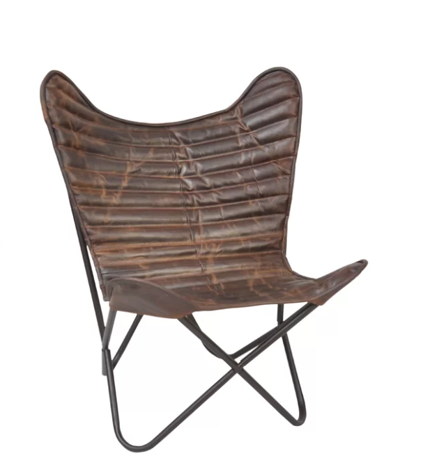 Ribbed Leather Butterfly Chair