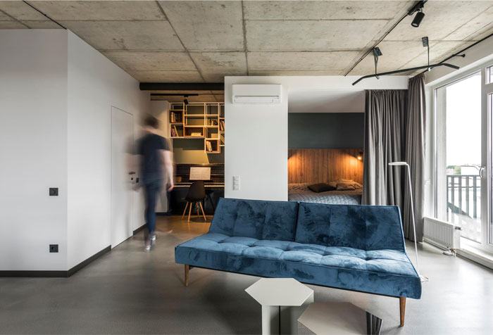 industrial modern minimalistic living space for losers
